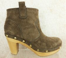 Tory Burch Brown Suede Stud Wood Heel Casual Ankle Platform Boots Women size 7 M