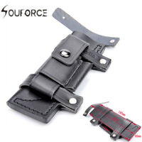 """Straight Leather Knives Belt Sheath For 7"""" Fixed Knife W/Pouch Bag Black Hunting"""
