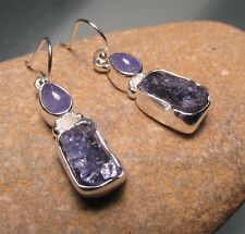 Sterling silver chunky rough & cab tanzanite stone 7gr earrings.