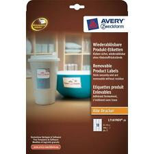 Avery Product Labels Removable 18 per Sheet 62x42mm White Rectangular L7107R-20