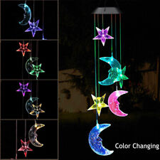 Solar Color Changing Led Moon & Star Wind Chimes Garden Yard Decor Hanging Light