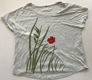 Marushka Hand-Printed Women's T-Shirt, Light Gray, Size Women's XL