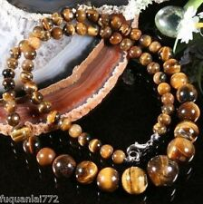 "NATURAL 6-14MM GENUINE TIGER EYE GEMS STONE ROUND BEADS NECKLACE 18"" AA+"