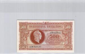 "Treasure 500 Francs "" Marianne "" Type 1945 Series M N° 17M529183 Pick 106"