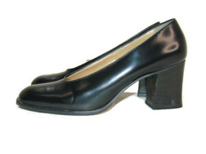 Nine West Pumps Black Leather Block Heel High Square Toe Slip On Womens Size 9