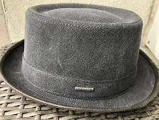 Stetson Charcoal Gray Canvas Cotton Pork Pie Fedora Hat Nwt Large 59cm 7 3/8