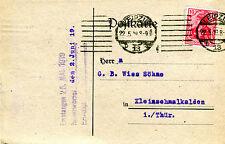 Karte Deutsches Reich 1919 Fr. Ed. Schneider Leipzig Hainstrasse Nr : 86 KA030