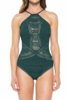 $190 Becca Women's Green Crochet Lace High Neck Halter One-Piece Swimsuit Size M