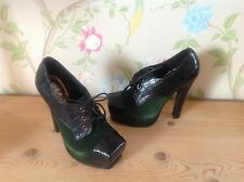 OFFICE Black Green Soft Suede Leather Ankle Shoe boots Size 38 UK 5 NEW
