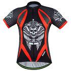 Skull Men's Cycling Jerseys Short Sleeve Shirts MTB Bike Bicycle T-shirt Top Red
