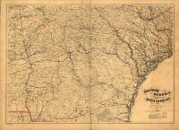 A4 Ristampa Di Americana Città Paesi Stati Mappa Sud Georgia