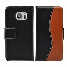Wallet S-Line Leather Flip Case Cover For Samsung Galaxy S7 Edge + 2 protectors