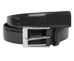 GUCCI BELT 345658 MENS PIOMBO LEATHER SQUARE LOGO BUCKLE AUTH NEW 100 / 40