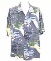Men's Button Shirt Aloha Hawaiian Camp Jaquard Rayon Sailboats Palm Trees XXL