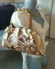 GUCCI Tom Ford Bamboo Handle Tan Leather Tattoo Floral Print SS2003 Bag Handbag