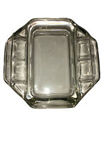 Vintage Clear Glass Rectangle Ashtray 6 Slots Cigarette Smoking Tool Ashtray MCM