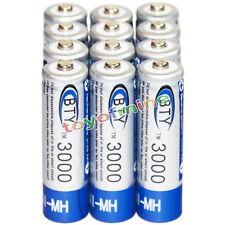 12x AA battery batteries Bulk Nickel Hydride Rechargeable NI-MH 3000mAh 1.2V BTY