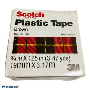 """3M SCOTCH Brown Colored Plastic Tape for Repair and ID, 3/4"""" x 125"""" 3.47 yds NEW"""