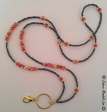 ID Badge Holder HANDMADE GOLD Black Red Crystals Beaded Lanyard Fashion Necklace