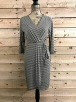 Gilli Black Brown White Faux Wrap 3/4 Sleeve Dress NWOT Sizes SML
