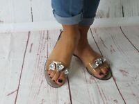 "Jelly Sandal ""HAMILTON"" Women's Slide Flat Flip Flop w/Gems  - Ann More"
