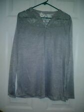Women's Faded Glory L (12/14) Gray with Lace Blouse NEW!