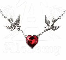 2 Swallows & Red Crystal Heart Rockabilly Pendant Chain Necklace ULFP1 Alchemy