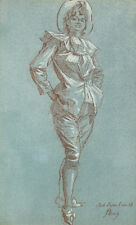 Jules Cheret  (French, 1836-1932)  Crayon Drawing on Paper,  Travesti