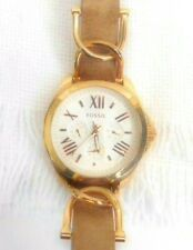Ladies Fossil Gold Tone Watch AM 4620 Roman numerals 3 eye 10 ATM Water Resist