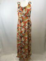 Very ladies maxi dress orange floral sleeveless polyester size 14 003