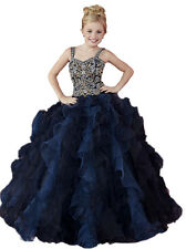 2016 Kids Navy Blue Luxury Beads Little glitz National Girls Pageant Dresses