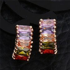 Multi-color Crystal 18K Gold Plated Platinum Plated Clip Earrings Women Jewelry