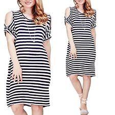 Cotton Round Neck Striped Dresses Midi