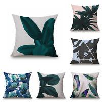 "18"" Home Cotton Linen Car Decor Waist Cushion Pillow Case Cover Watercolour Leaf"