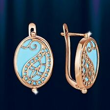 Russian Rose gold 14k/ 585 oval Turquoise earrings NWT Beautiful design