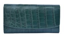 New Looks Forest Green Trifold Style Genuine Crocodile Belly Leather Clutch