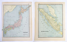 Japan Sumatra Islands - Beautiful Vintage Original 1893 Antique World Atlas Maps