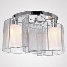 Luxury Modern 2 Lights Bedroom Ceiling Light Silver Flush Mount Lighting Fixture