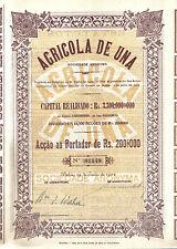 Brazil Bond 1922 Agricola Una Society Bahia Rs. 200$000 Uncancelled coupons Deco