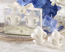 Ivory Fleur De Lis Ceramic Salt & Pepper Shaker Set