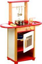 Pintoy Holz Spielküche Küchencenter rot Kinderzimmer Backofen Spüle & Herd NEU