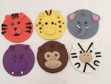 12 X ZOO JUNGLE ANIMALS CUPCAKE TOPPER FONDANT, ICING SUGAR BIRTHDAY PARTY