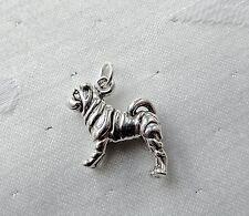Shar-Pei Hund 3D 925 Charm Sterlingsilber