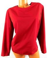 Reflections red women's plus size keyhole back round neck long sleeve top XL