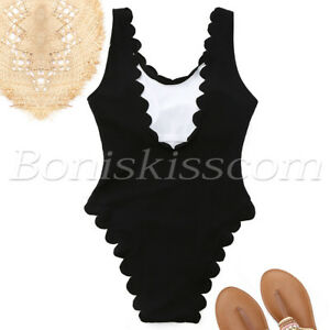 Women's One Piece Scalloped Padded Monokini Swimsuit Swimwear Beachwear Bikini