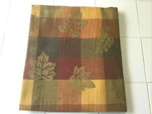 """Fall/Autumn/Thanksgiving Tablecloth Fall-Colored Squares Gold Leaves 52x69"""" NWOT"""