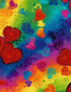 Digitally Printed Fabric Chong-a Hwang All Over Full Heart Bright CD6662 BTY