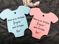 10 White Gift Tags Bomboniere Baby Shower Favour Baby Boy Girl 10 Fingers