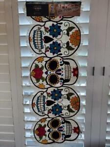 "💀🌹Cynthia Rowley Sugar Skull Halloween Day of The Dead 14""x48""Table Runner🌹💀"