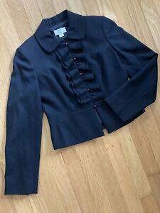 Ann Taylor Loft Petite Black 100% Wool Peplum Ruffle Jacket Blazer Womens ~ 0P